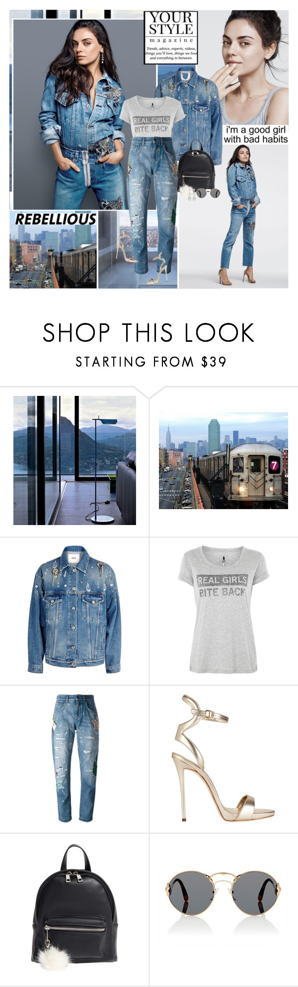 """Mila Kunis : )"" by thisiswhoireallyam7 ❤ liked on Polyvore featuring Flos, MSGM, Blake Seven, Dolce&Gabbana, Giuseppe Zanotti, BP., Prada, denim, milakunis and casualoutfit"