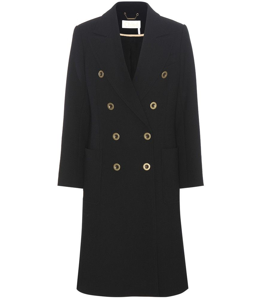 Chloé - Wool-crêpe coat - Crafted from black wool crêpe, this coat from Chloé epitomises the label's effortless approach to chic style. The antique golden buttons and peaked lapel add vintage flair to the streamlined design. Wear yours over a beige-hued cashmere sweater for a beautiful look in the new season. seen @ www.mytheresa.com