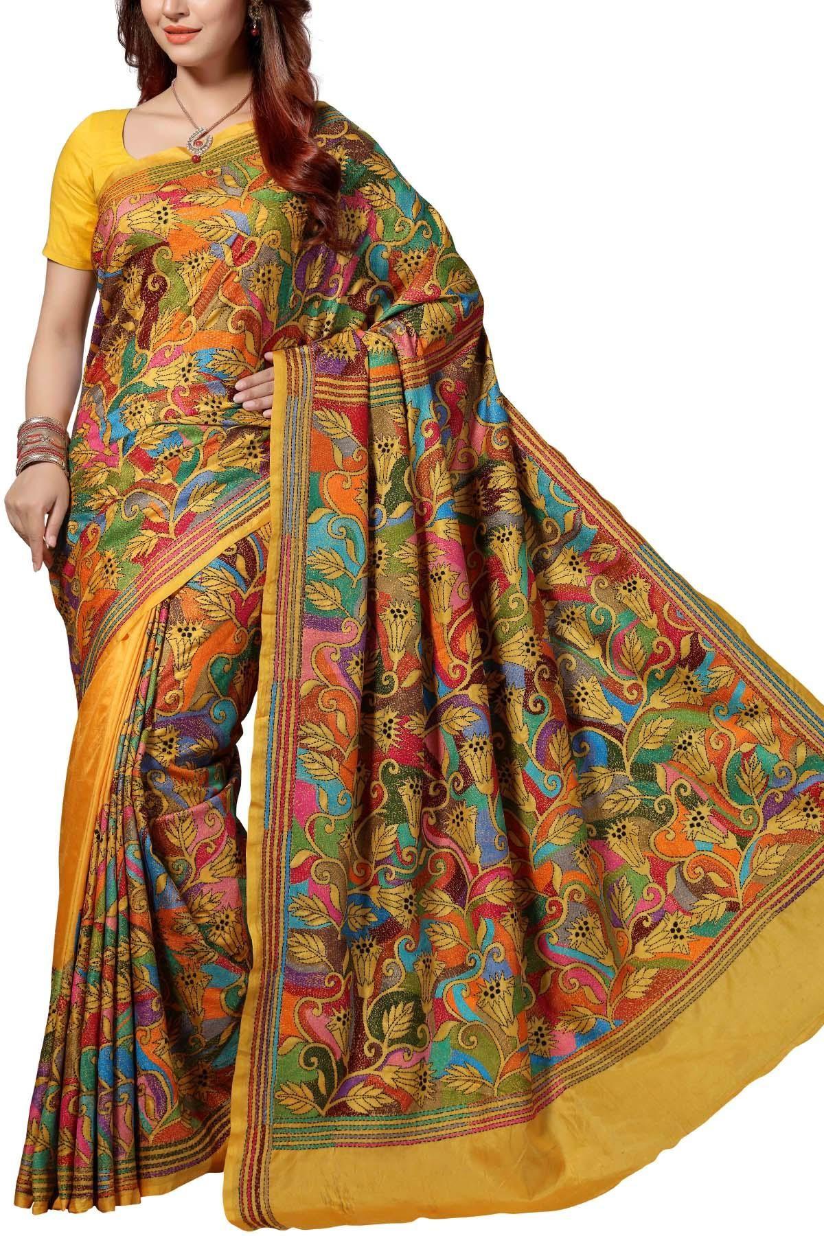 ecfca3a54a Amber Gold & Multi-colored Floral Nakshi Kantha Soft Silk Saree ...