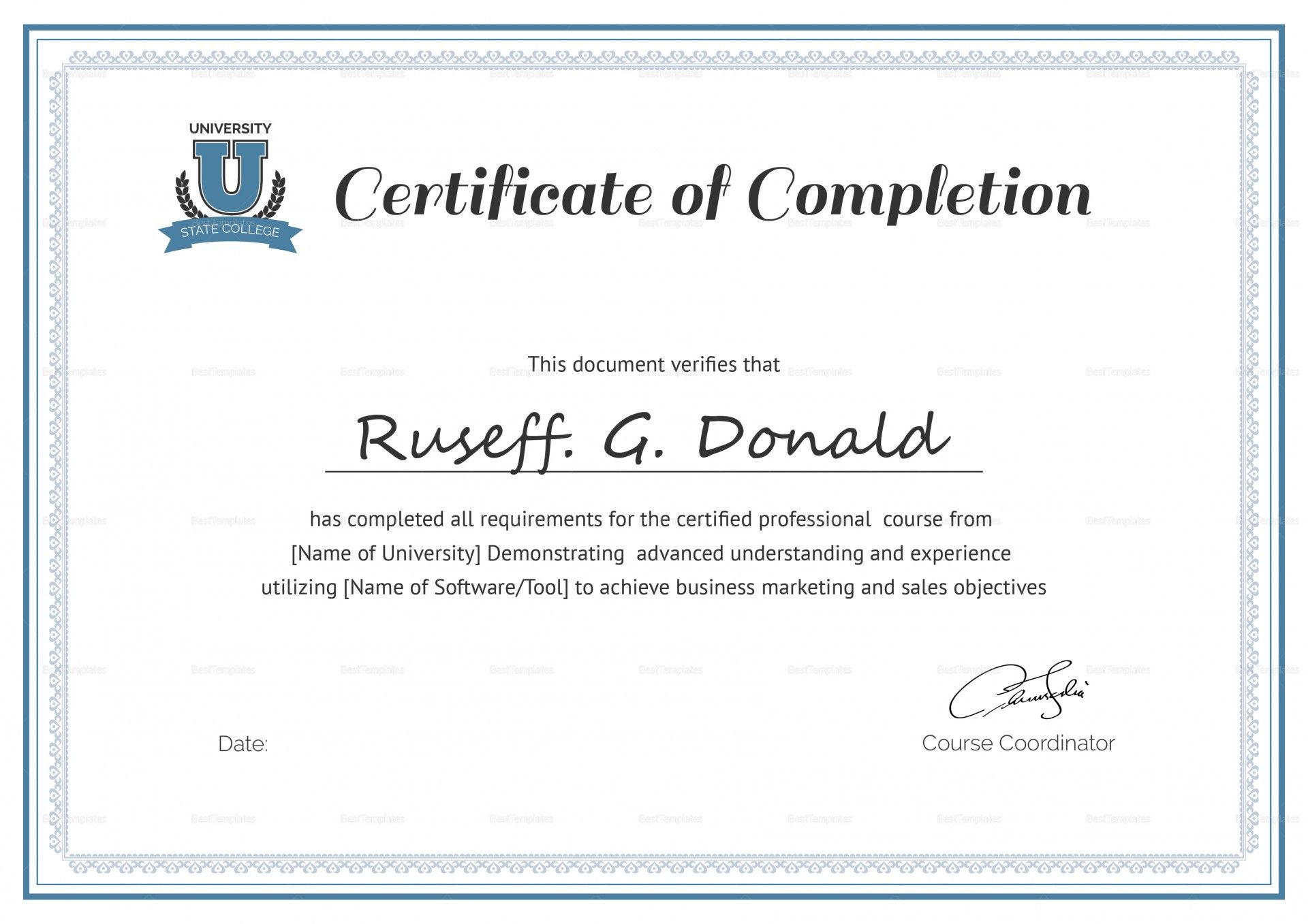 029 Make Up Course Completed Certificate Template Makeup Inside