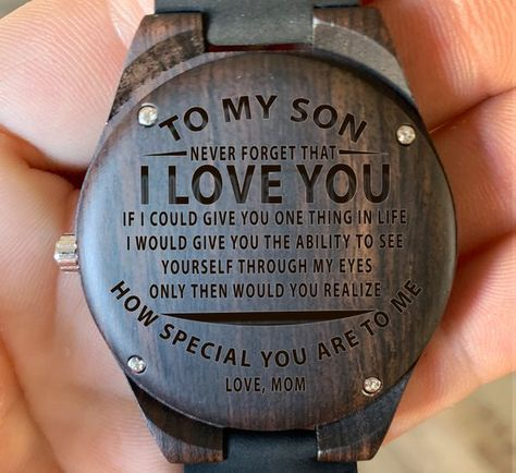 To My Son From Mom - To See you Through My Eyes Engraved Wooden Watch, Wood Gifts, Custom Birthday G