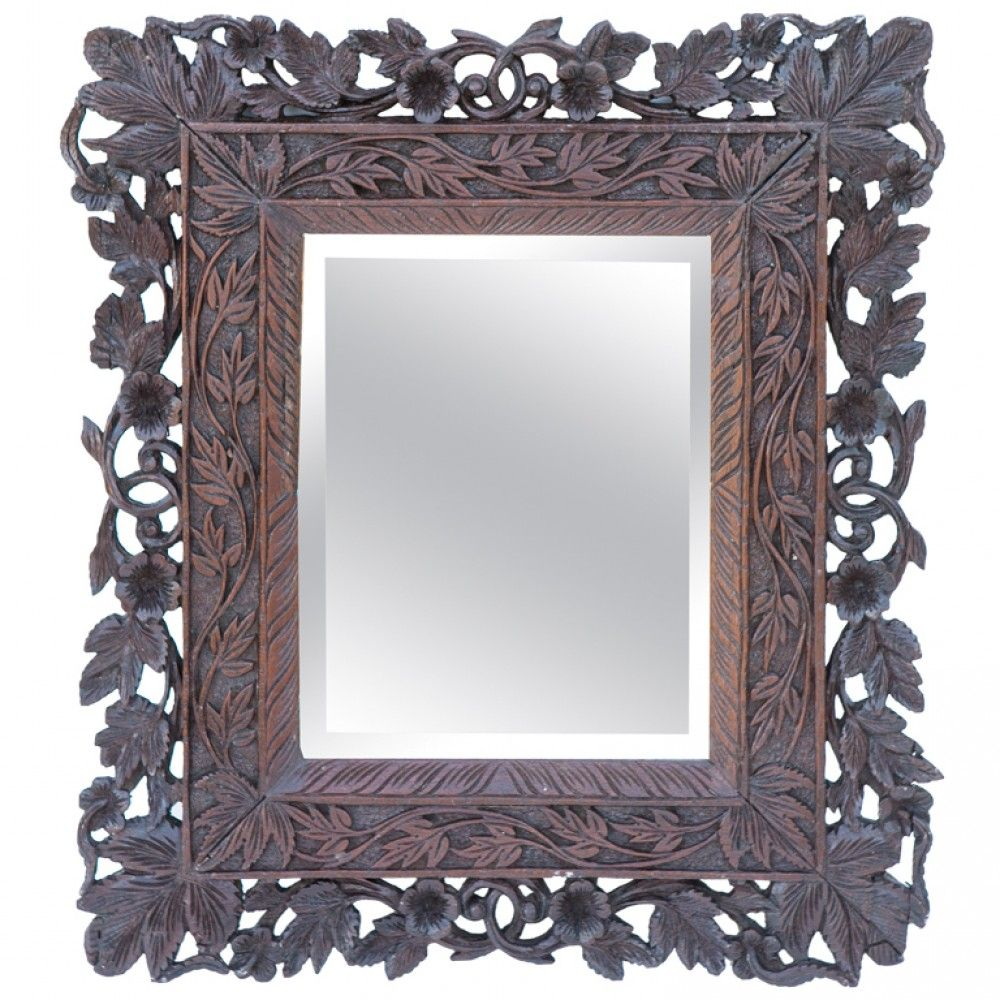 Anglo-Indian Elaborately Carved Small Sized Mirror ...