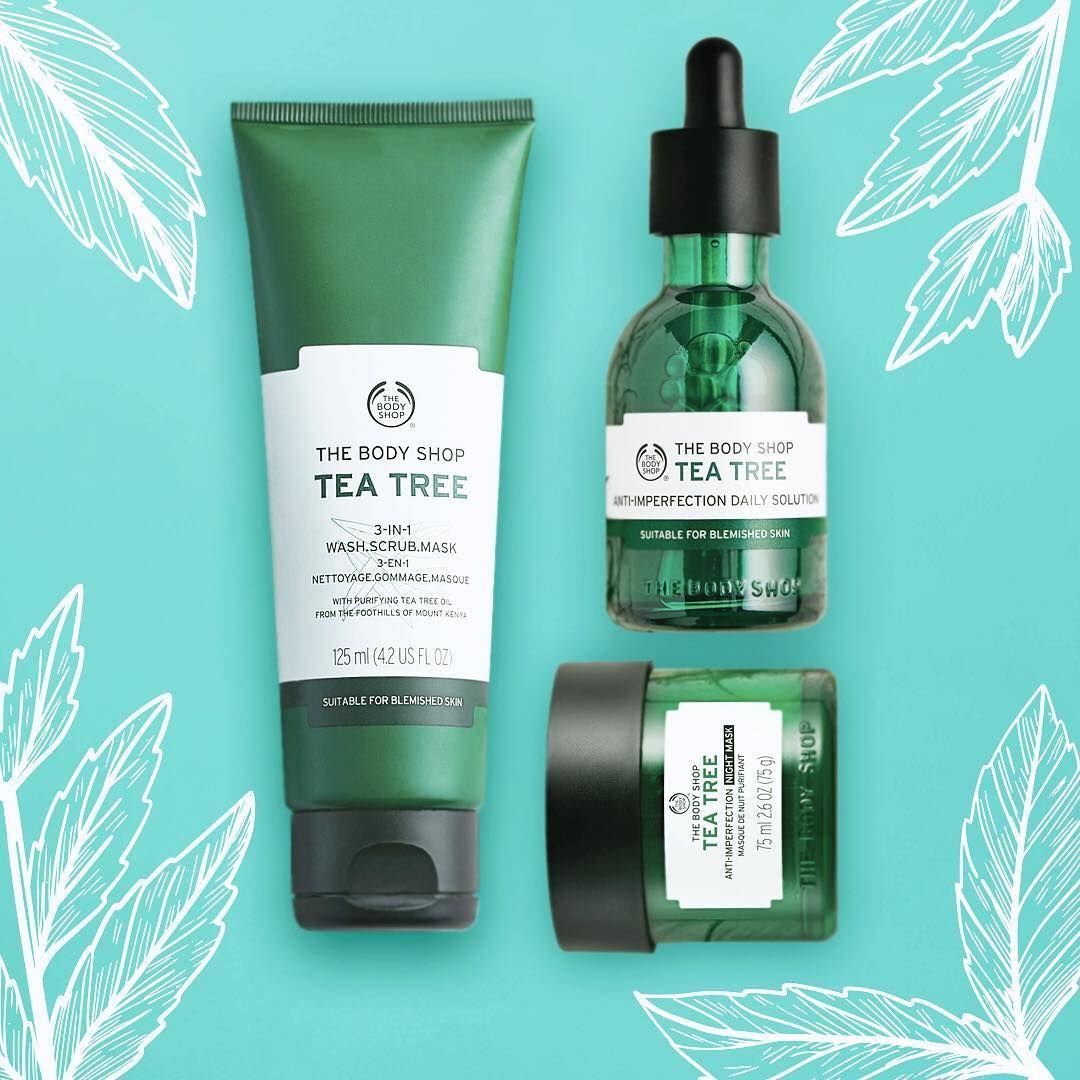 لبشرة نقية جربي الرجيم التالي مع مجموعة شجرة الشاي للبشرة الدهنية تعتمد على ٣ منتجات ١ الغسول٣في١ ٢ المحلول Body Shop Tea Tree The Body Shop Tea Tree Oil