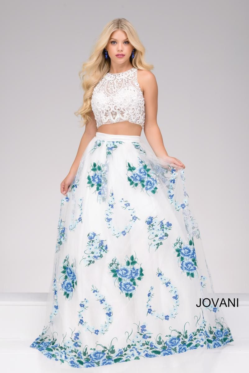 Jovani Prom 48708 Beautiful White Blue Two Piece Dress Top Has