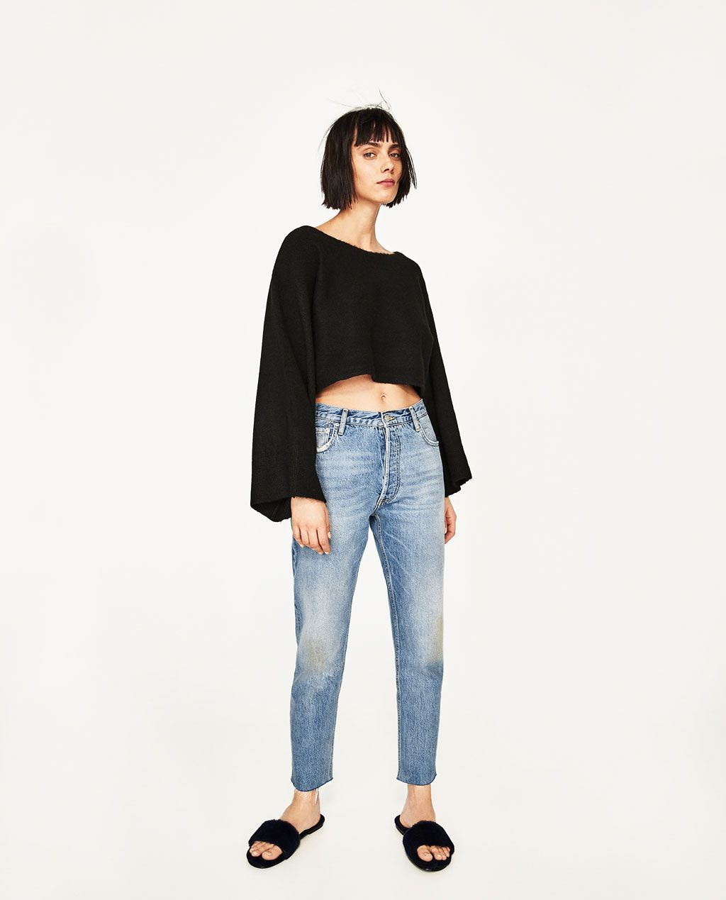 CROPPED SWEATER WITH WIDE SLEEVES-View All-KNITWEAR-WOMAN-SALE ...
