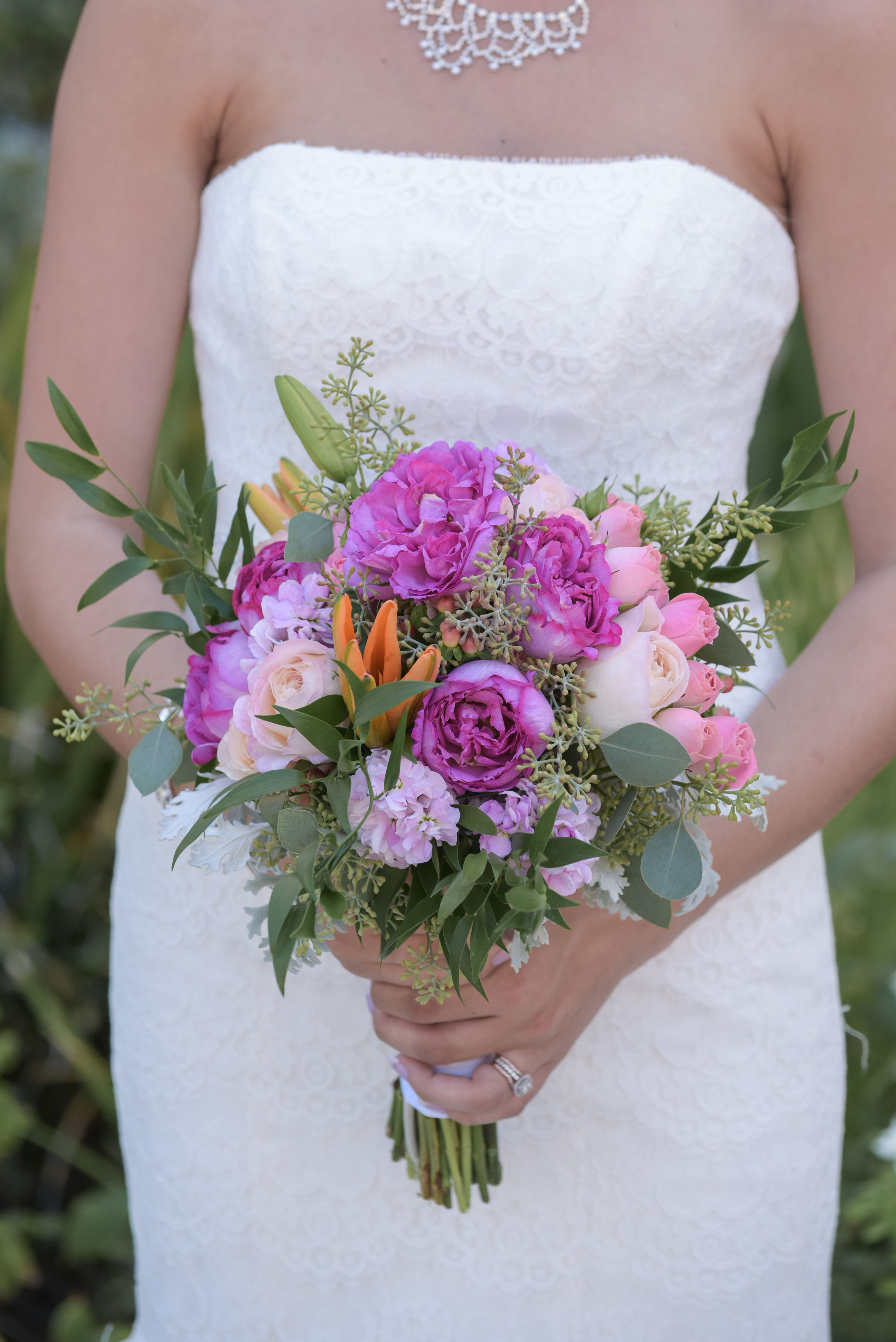 Freshly Picked Bridal Bouquet With Pink And Greenery Floral Design