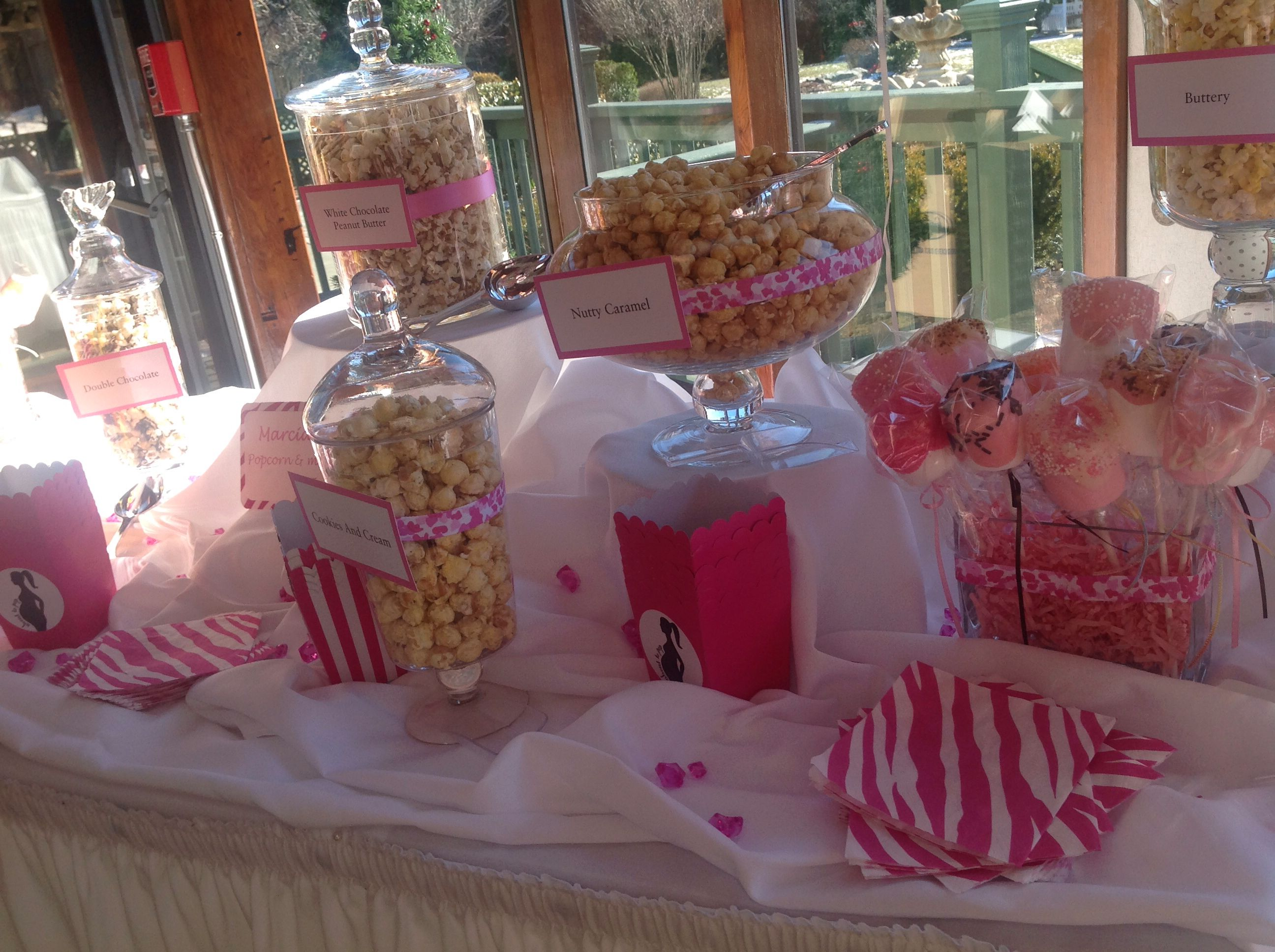 Popcorn Bar From Baby Shower Party Pinterest Popcorn Bar