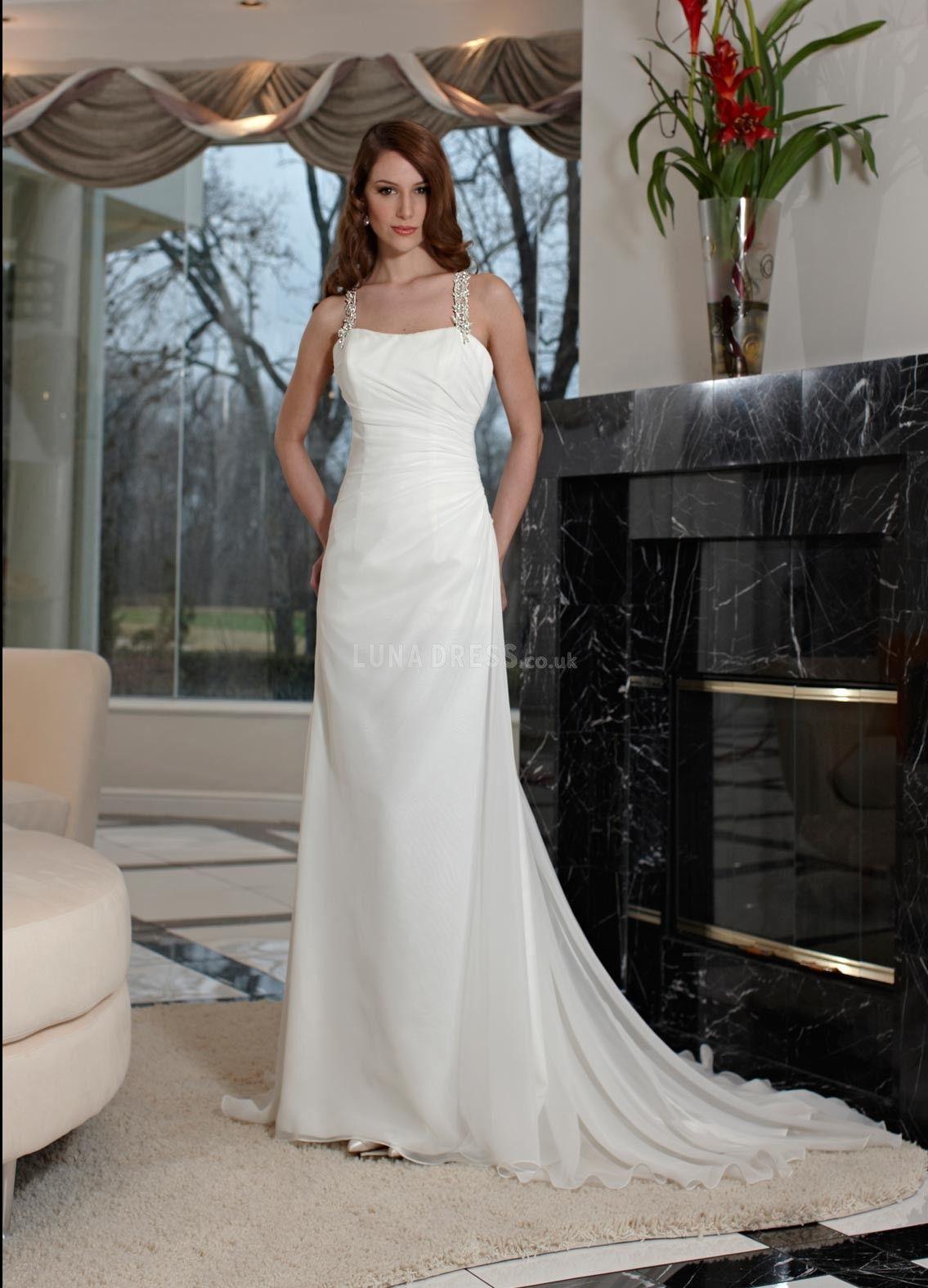 Wedding dress without train  chiffonsheathcolumnstrapssleevelessfloorlengthbeachwedding