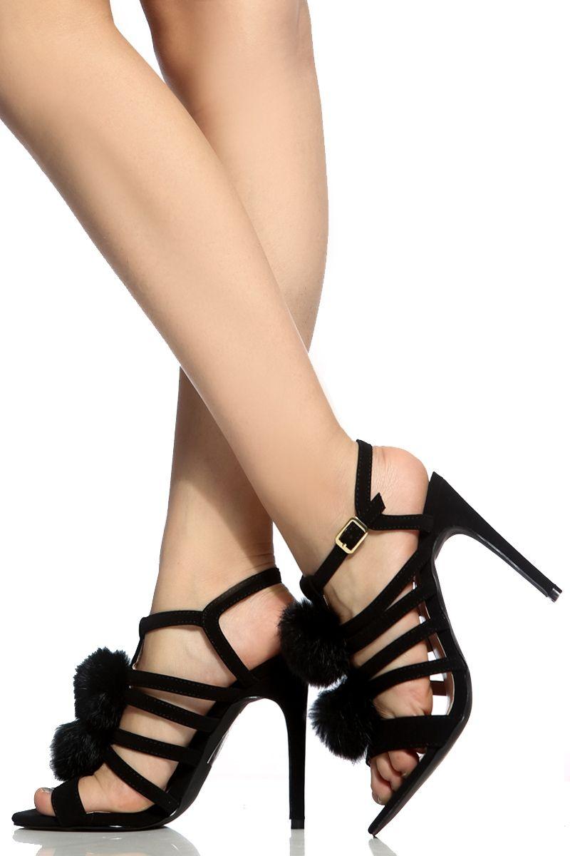 c9bc0e8e431e Black Faux Suede Caged Fur Pom Open Toe Heels   Cicihot Heel Shoes online  store sales Stiletto Heel Shoes