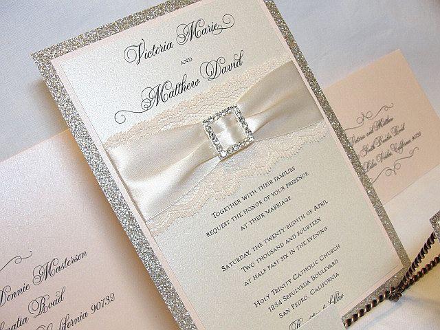 Coco Glitter And Lace Wedding Invitations 675 00 Via Etsy