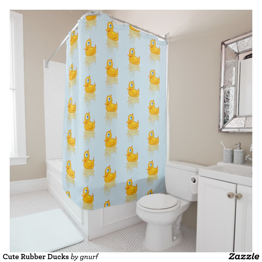 Cute Rubber Ducks Shower Curtain Zazzle Com Duck Shower Curtain Funny Shower Curtains Shower Curtain