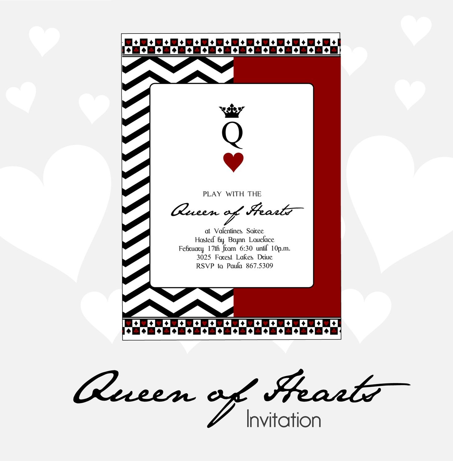Queen of Hearts Valentines Party Invitation - DIY Printable. $12.00 ...