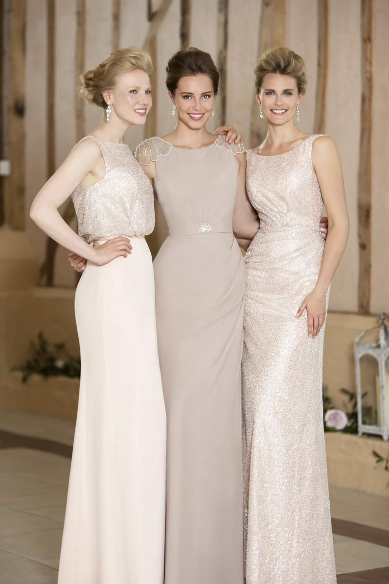 Gorgeous trio of bridesmaids a mix between glamour and sparkle luna bridesmaids dresses by nicki flynn ombrellifo Images