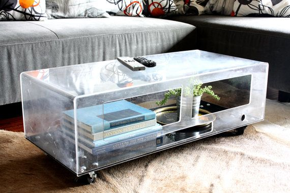Repurposed Lucite Coffee Table upcycle recycle aquarium acrylic