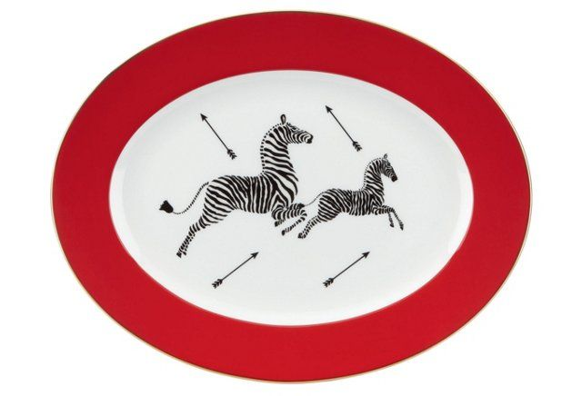 Zebra Collection Oval Platter