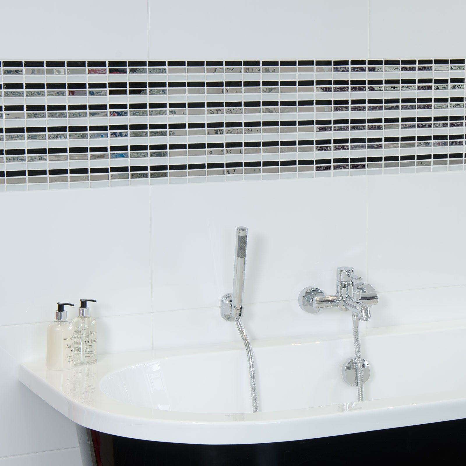 Alaska Blanco (White) Gloss Tile - Black And White Bathroom Ideas ...