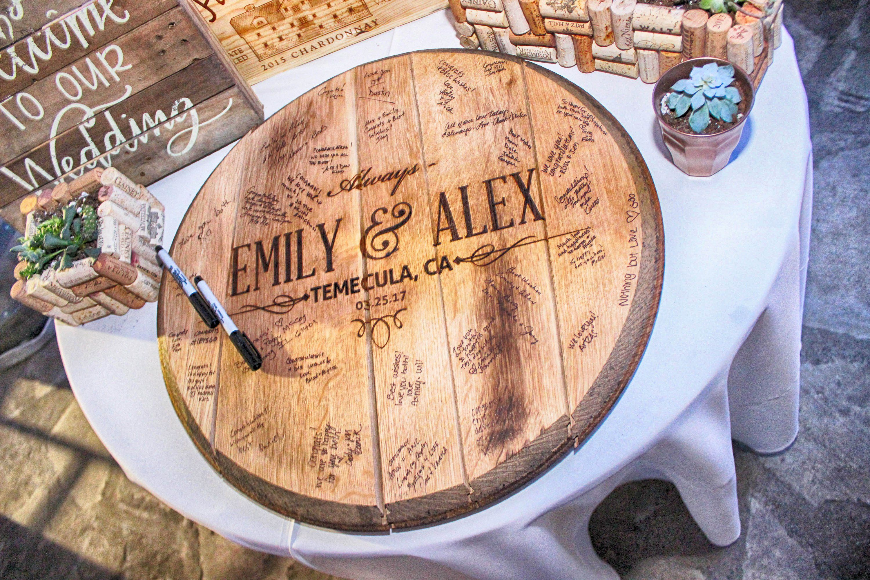 Wedding Guestbook Made From Reclaimed Bourbon Barrel Head Includes Hanging Hardware And A Sharpie For Signatures Wedding Guest Book Unique Barrel Wedding