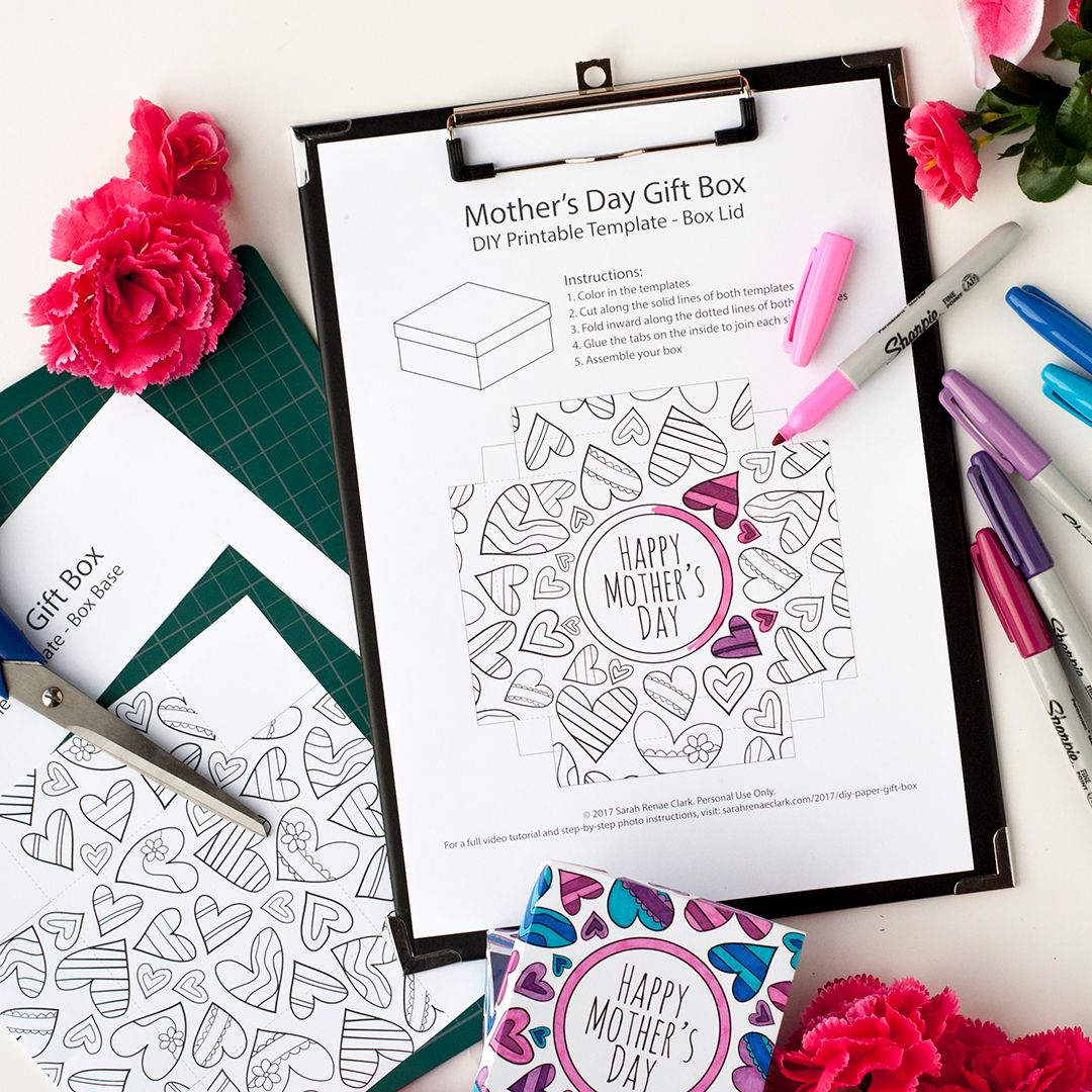 Make A Paper Gift Box For Motheru0027s Day With This Template And Video  Tutorial By Sarah Renae Clark. There Are 6 Different Designs To Color In!