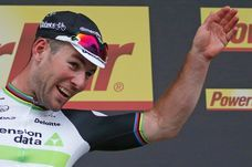 Team Dimension Data rider Mark Cavendish of Britain reacts on podium after winning the stage.