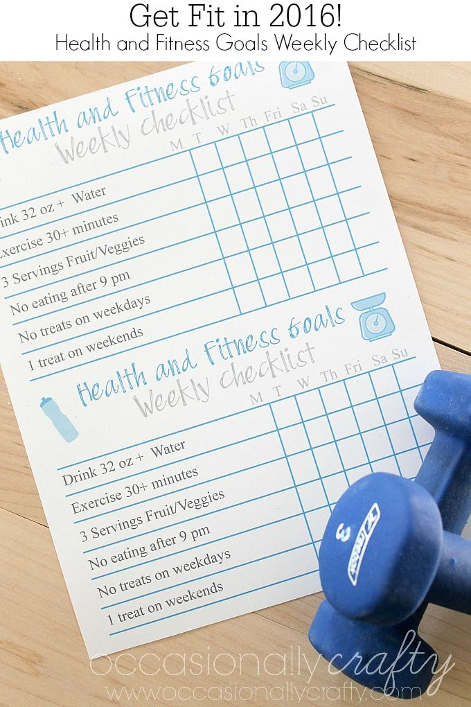 Free Printable Health and Fitness Goal Checklist Free printable