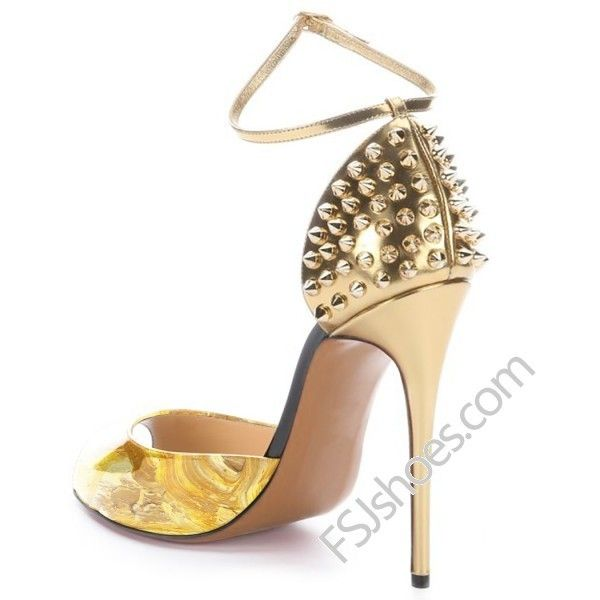 Gold Rivets Decorated Pumps ($65) ❤ liked on Polyvore featuring shoes, pumps, gold pumps, embellished pumps, gold shoes, ball shoes and decorating shoes