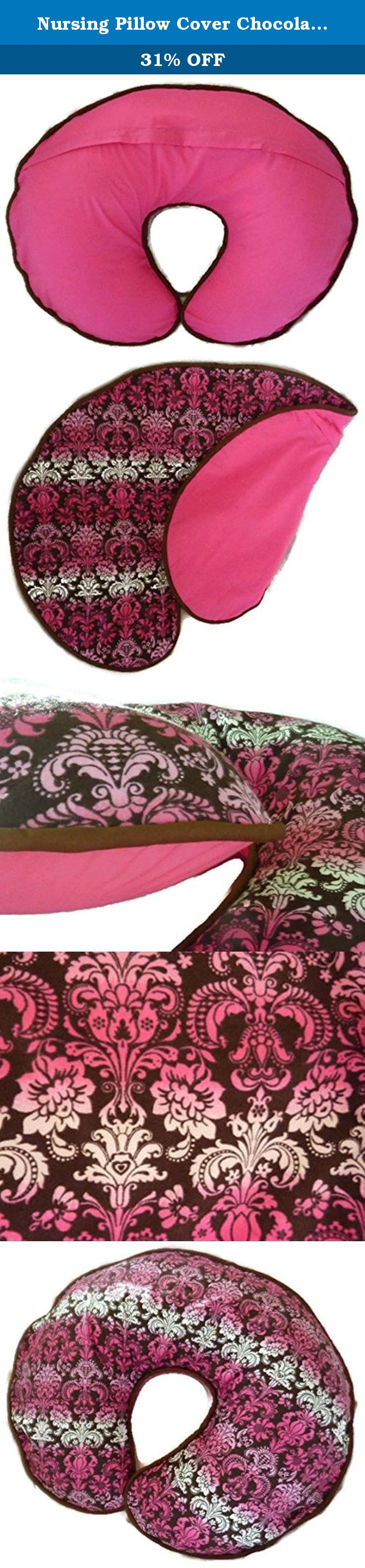 Nursing Pillow Cover Chocolate Brown with Pink and White Damask. This nursing pillow cover is handmade using chocolate brown cotton fabric featuring damask pattern in various shades of pink and white on the top side with a chocolate brown piping along the edge. The back of the cover is made from solid hot pink cotton fabric with a zipper for easy removal. The cover is machine washable in cold wash and air drying is recommended. The nursing pillow cover is shown pictured on a Nursing…