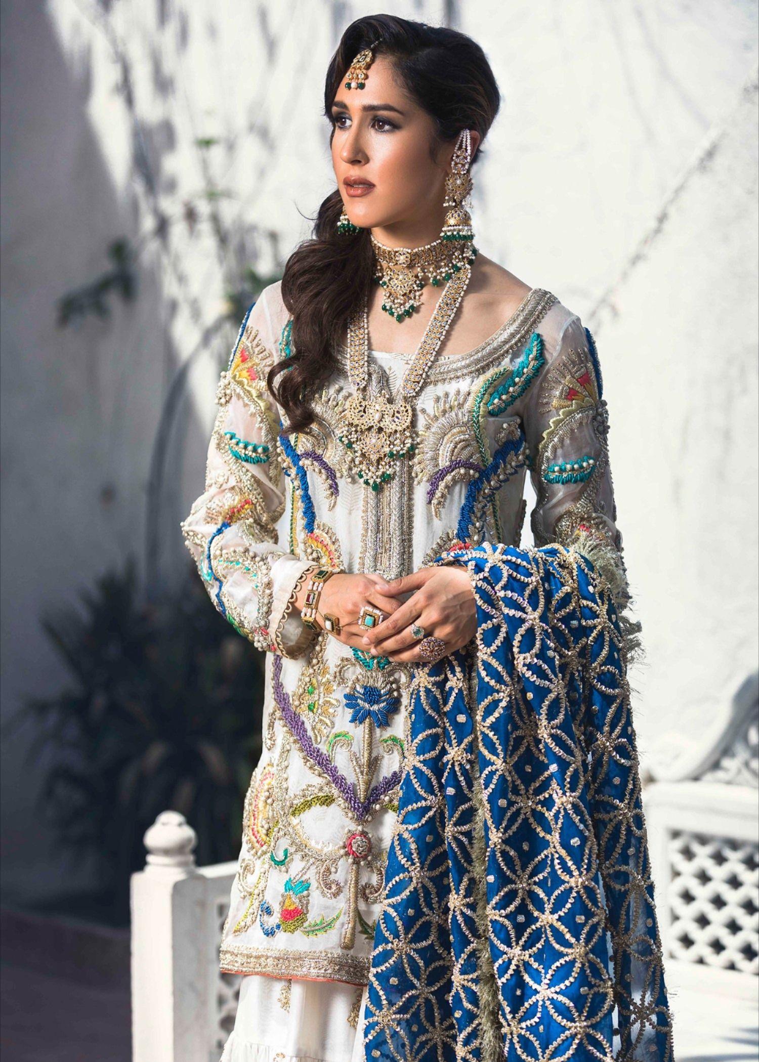 Latest embroidered bridal gharara dress for wedding wear