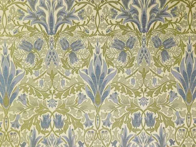 Brockhall Designs Morris Jacquard Wedgwood Fabric Curtains