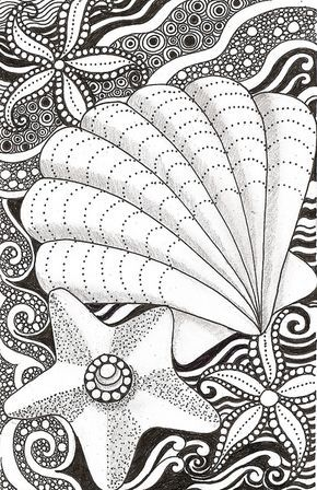 Shell and starfish | Zentangle, Zeichnen und Malen