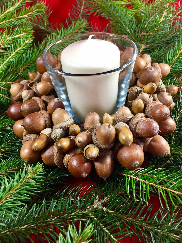 Acorn Wreath Candle Holder Christmas Winter Decor Natural Decoration Handmade Door Indoor Outdoor By
