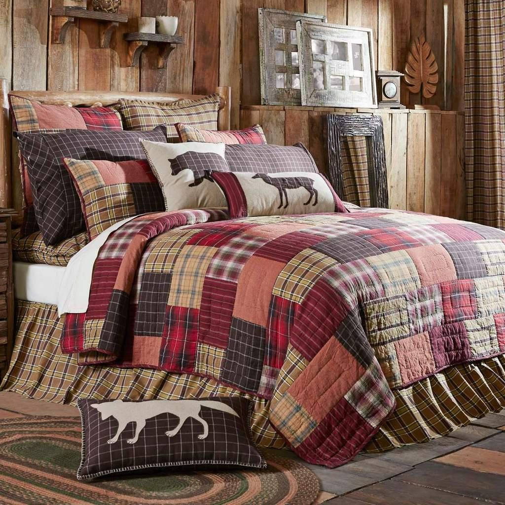 Rustic Lodge Bedding Patchwork Quilts Outdoorsy Quilt Lodge Bedding Rustic Bedroom Rustic Bedding
