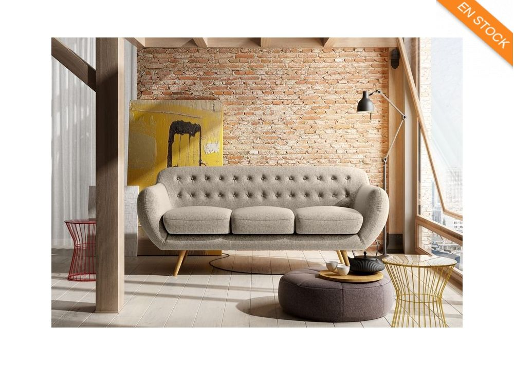 Canape 3 Places Vintage Beige Paris Pieds En Bois Coniques Canape Design Canape Retro Salon Canape