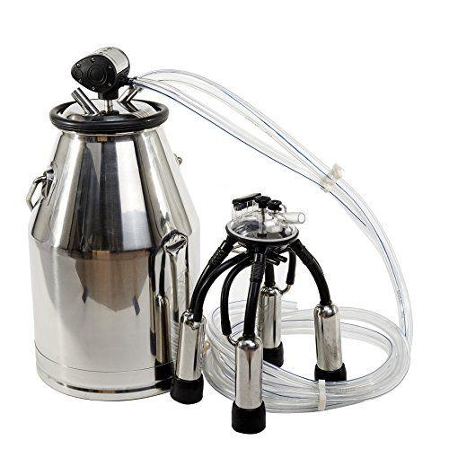 Pneumatic Pulsator US Stock Portable Cow Milker Milking Bucket Tank Barrel 25L