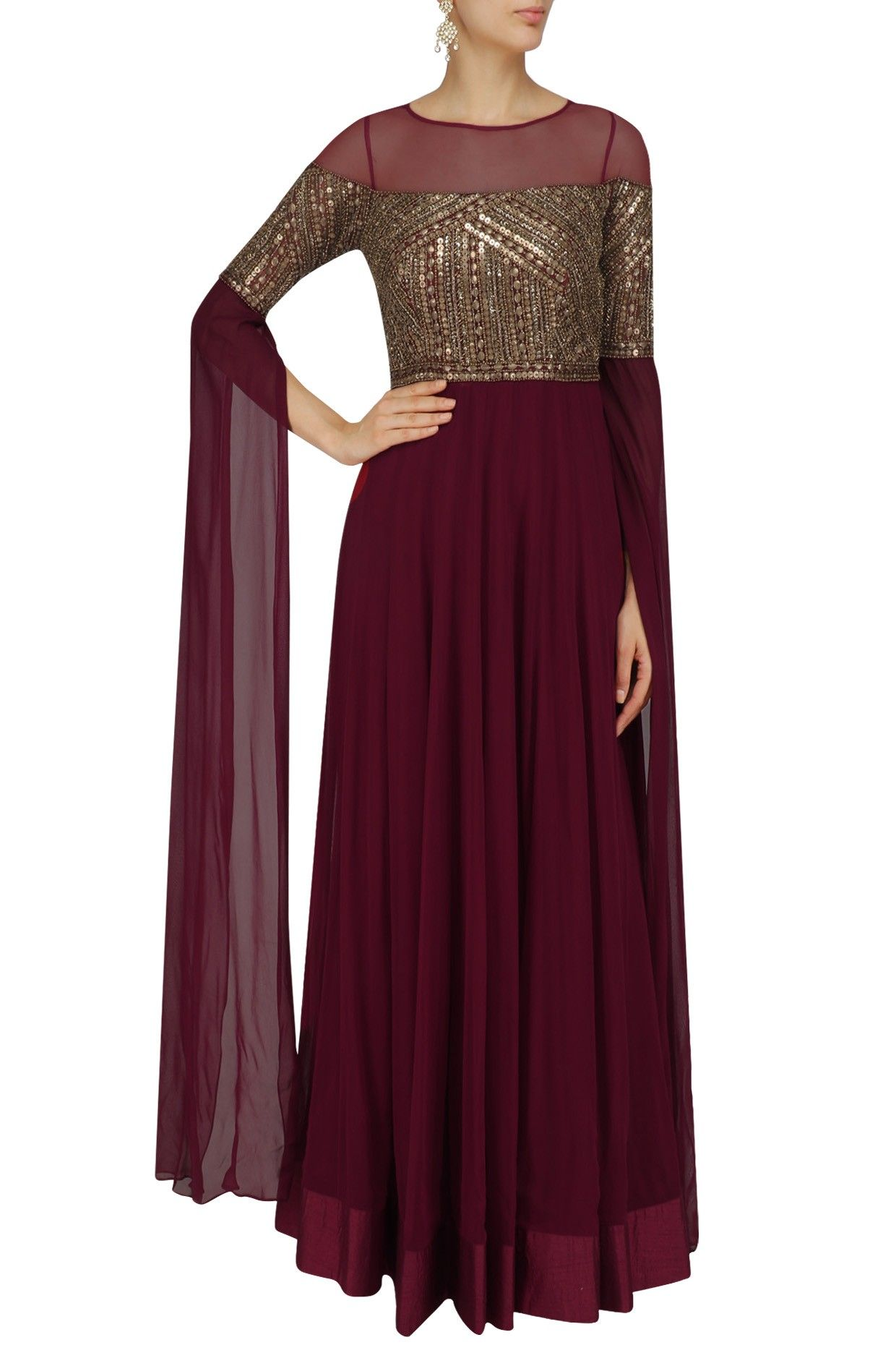 Deep Maroon Sequins Embellished Cape Sleeves Gown By Sanya Gulati #ethnic #traditional #pernia #perniaspopupshop #ethnicwear #indianwear #shopnow #sanyagulati