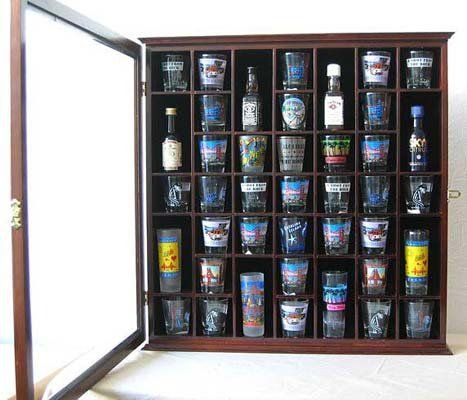 41 Shot Glass Display Case Holder Cabinet Wall Rack With Glass Door, Walnut  Finish ( Part 78