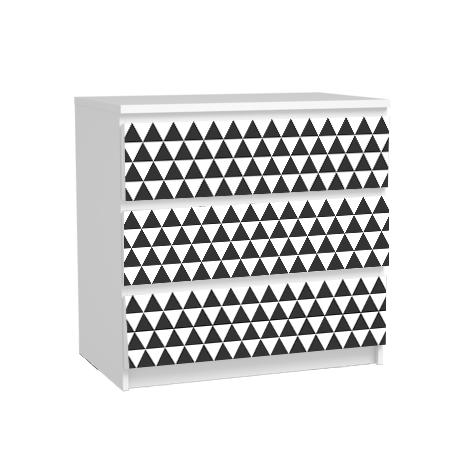 Pack stickers 3 tiroirs malm geometric black triangle - Ikea stickers chambre ...