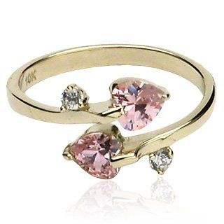 10k Gold Toe Rings W Double Pink Heart Cz Toe Rings Gold 212 80 Toe Rings Wholesale Body Jewelry Gold Toe Rings