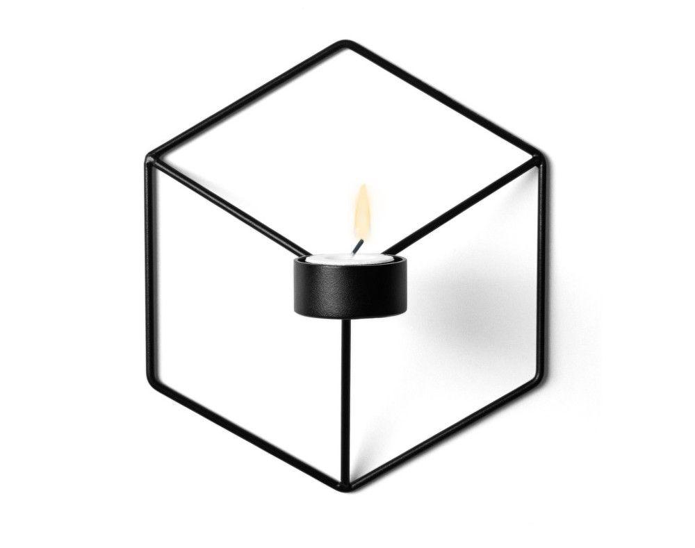 Nástěnný svícen na čajovou svíčku POV od Menu, černý