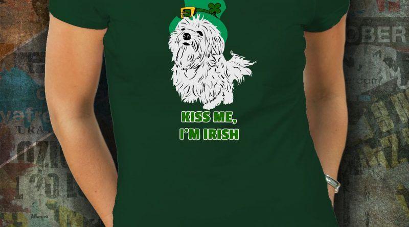 Maltese dog kiss me Im Irish t-shirt