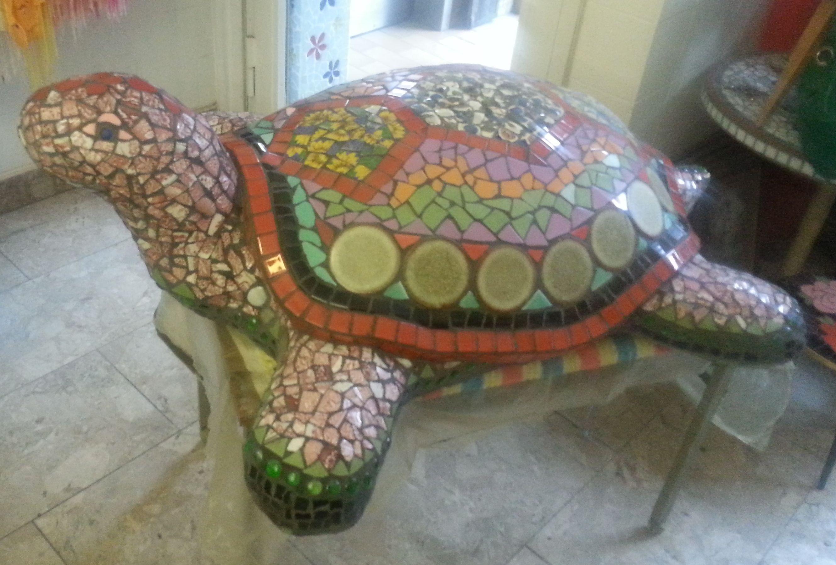 Riesen Mosaik Schildkröte UNIKAT, aus eigener Herstellung. Kreiert ...