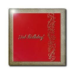 """73rd Birthday Red and Gold Design - 12 Inch Ceramic Tile by Beverly Turner Photography. $22.99. High gloss finish. Clean with mild detergent. Dimensions: 12"""" H x 12"""" W x 1/4"""" D. Image applied to the top surface. Construction grade. Floor installation not recommended.. 73rd Birthday Red and Gold Design Tile is great for a backsplash, countertop or as an accent. This commercial quality construction grade tile has a high gloss finish. The image is applied to the top s..."""