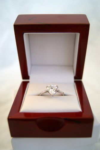 Stunning Engagement Cherrywood Ring Box With Dome Top Design