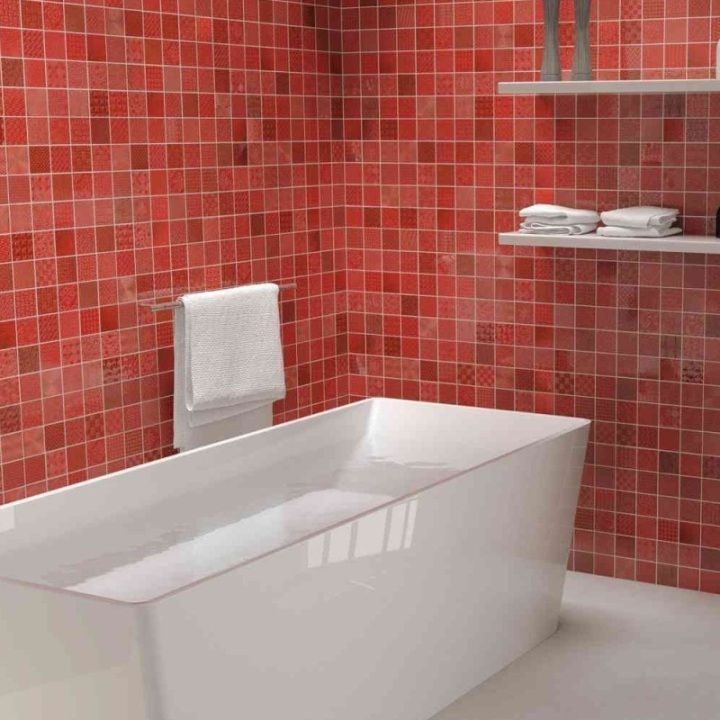 Cardiff Coloured Tiles In Bright Red Color Tile Bathroom Red Wall Colors