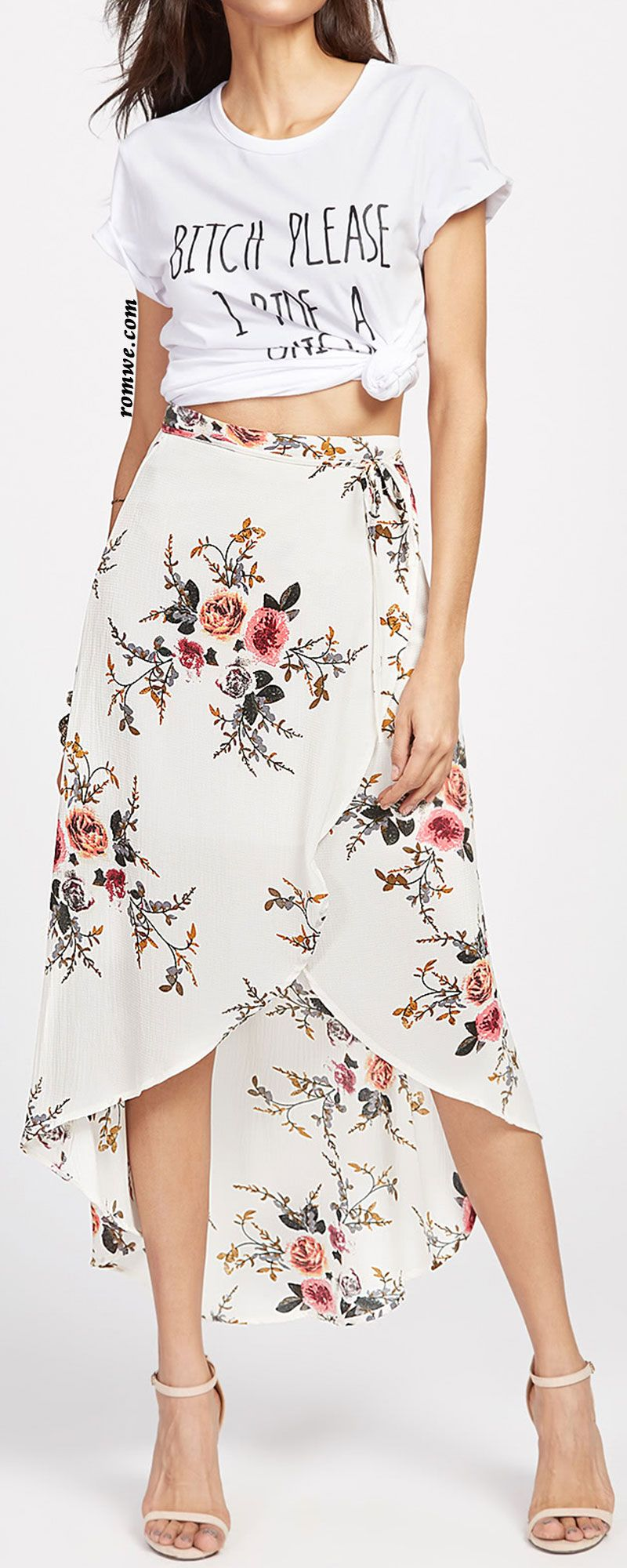 9910b3afb Beige Floral Print Dip Hem Wrap Skirt   Romwe Hot Buy in 2019 ...