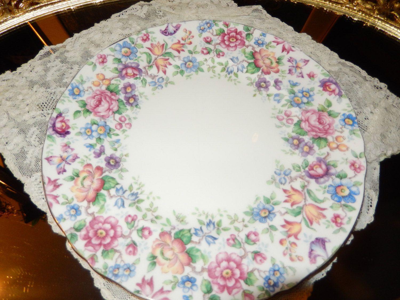 Crown Staffordshire 1970/'s vintage Englands Bouquet cake plate