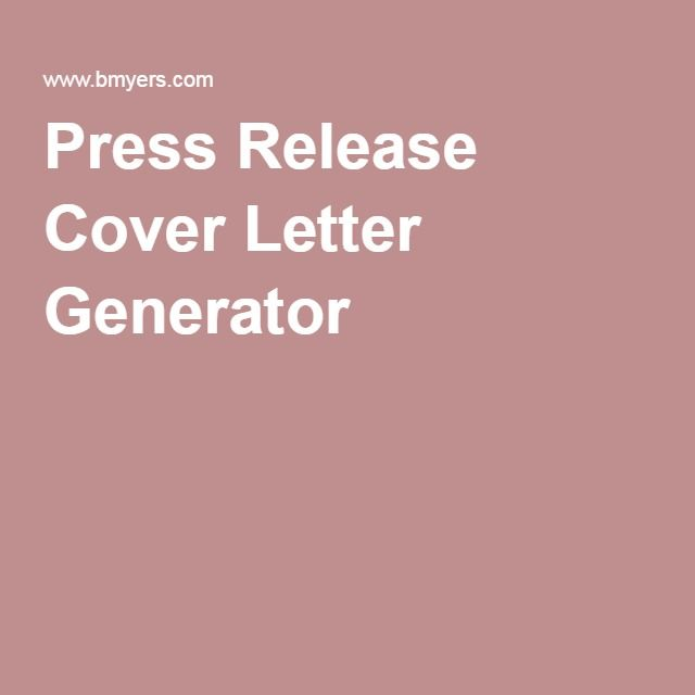 Press Release Cover Letter Generator  Biz    Cover