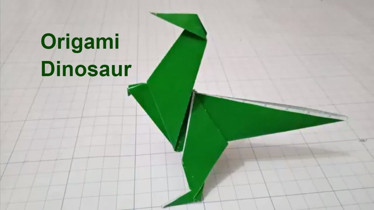 Photo of Origami dinosaur.Easy crafts 3D paper dinosaur for kid.video tutorial origami dinosaur