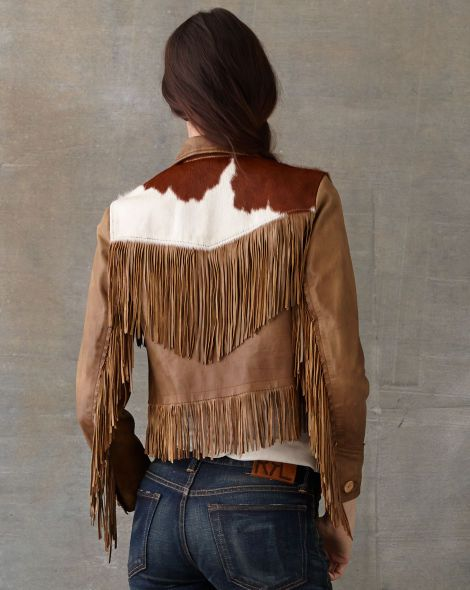 824f51ff4 Love this Brown leather and cowhide fringe jacket by Ralph Lauren ...