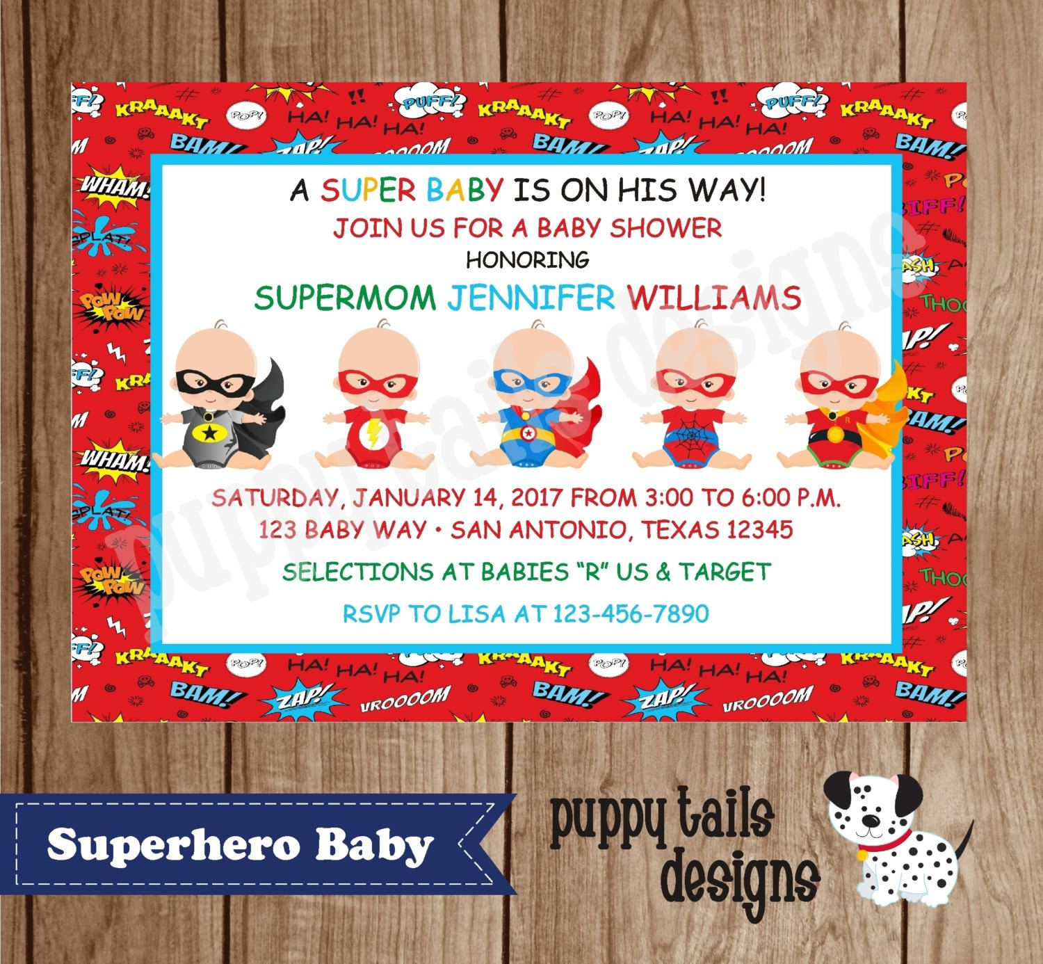 Custom Printed Superhero Baby Shower, Birthday Invitations  100 Each