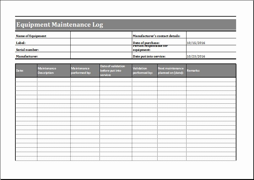 Equipment Maintenance Log Template Excel Lovely Equipment